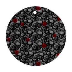 Skulls and roses pattern  Ornament (Round)