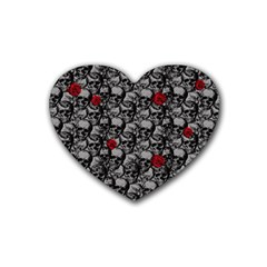 Skulls and roses pattern  Heart Coaster (4 pack)