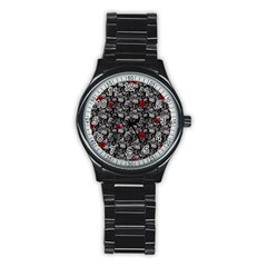 Skulls And Roses Pattern  Stainless Steel Round Watch