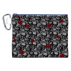 Skulls and roses pattern  Canvas Cosmetic Bag (XXL)