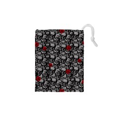 Skulls and roses pattern  Drawstring Pouches (XS)