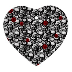 Skulls and roses pattern  Ornament (Heart)