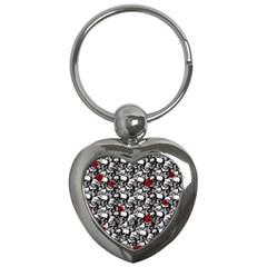 Skulls and roses pattern  Key Chains (Heart)