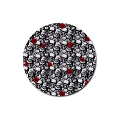 Skulls and roses pattern  Rubber Coaster (Round)