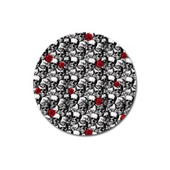 Skulls and roses pattern  Magnet 3  (Round)