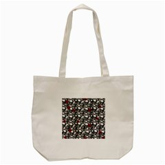 Skulls and roses pattern  Tote Bag (Cream)