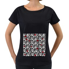 Skulls and roses pattern  Women s Loose-Fit T-Shirt (Black)