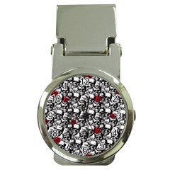 Skulls and roses pattern  Money Clip Watches