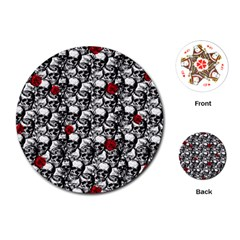 Skulls and roses pattern  Playing Cards (Round)