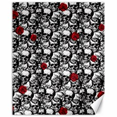 Skulls and roses pattern  Canvas 16  x 20