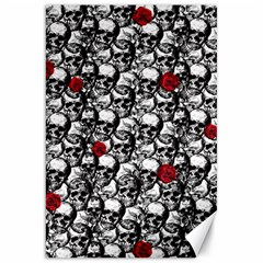 Skulls and roses pattern  Canvas 20  x 30