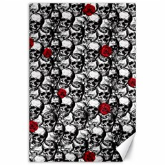 Skulls and roses pattern  Canvas 24  x 36