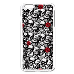 Skulls and roses pattern  Apple iPhone 6 Plus/6S Plus Enamel White Case