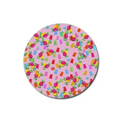 Candy pattern Rubber Coaster (Round)