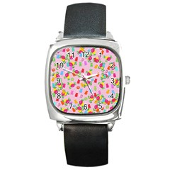 Candy pattern Square Metal Watch