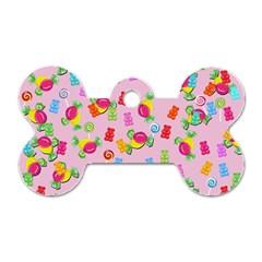 Candy pattern Dog Tag Bone (One Side)