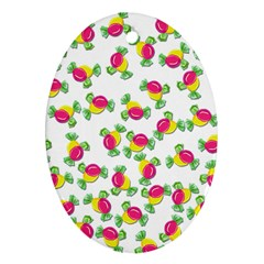 Candy Pattern Oval Ornament (two Sides)