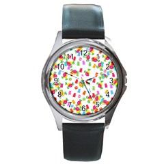 Candy pattern Round Metal Watch