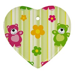 Animals Bear Flower Floral Line Red Green Pink Yellow Sunflower Star Heart Ornament (two Sides)