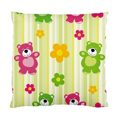 Animals Bear Flower Floral Line Red Green Pink Yellow Sunflower Star Standard Cushion Case (One Side)
