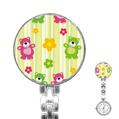 Animals Bear Flower Floral Line Red Green Pink Yellow Sunflower Star Stainless Steel Nurses Watch
