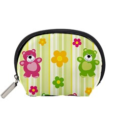 Animals Bear Flower Floral Line Red Green Pink Yellow Sunflower Star Accessory Pouches (Small)
