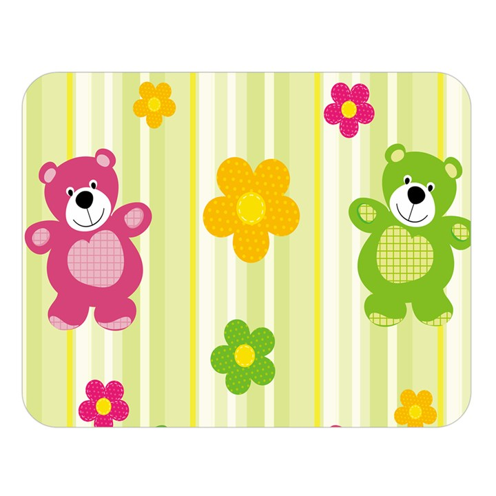 Animals Bear Flower Floral Line Red Green Pink Yellow Sunflower Star Double Sided Flano Blanket (Large)