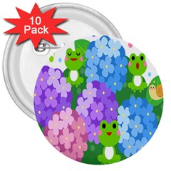 Animals Frog Face Mask Green Flower Floral Star Leaf Music 3  Buttons (10 pack)