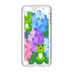 Animals Frog Face Mask Green Flower Floral Star Leaf Music Apple iPod Touch 5 Case (White)