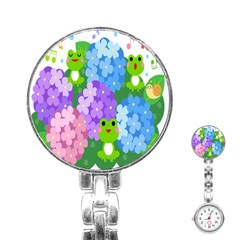 Animals Frog Face Mask Green Flower Floral Star Leaf Music Stainless Steel Nurses Watch