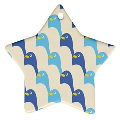 Animals Penguin Ice Blue White Cool Bird Star Ornament (Two Sides)