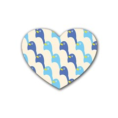 Animals Penguin Ice Blue White Cool Bird Rubber Coaster (Heart)