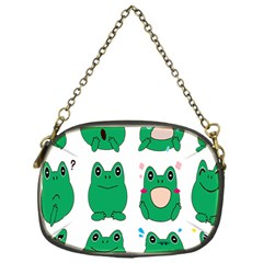 Animals Frog Green Face Mask Smile Cry Cute Chain Purses (One Side)