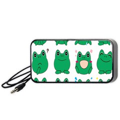 Animals Frog Green Face Mask Smile Cry Cute Portable Speaker (Black)
