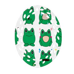 Animals Frog Green Face Mask Smile Cry Cute Oval Filigree Ornament (two Sides)