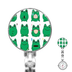 Animals Frog Green Face Mask Smile Cry Cute Stainless Steel Nurses Watch