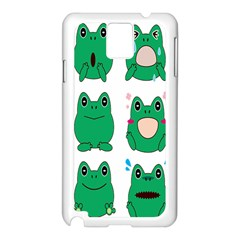 Animals Frog Green Face Mask Smile Cry Cute Samsung Galaxy Note 3 N9005 Case (White)
