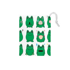 Animals Frog Green Face Mask Smile Cry Cute Drawstring Pouches (Small)