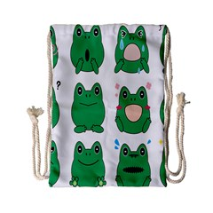 Animals Frog Green Face Mask Smile Cry Cute Drawstring Bag (Small)