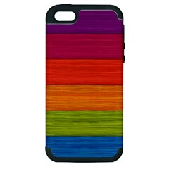 Wooden Plate Color Purple Red Orange Green Blue Apple Iphone 5 Hardshell Case (pc+silicone)