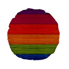 Wooden Plate Color Purple Red Orange Green Blue Standard 15  Premium Round Cushions
