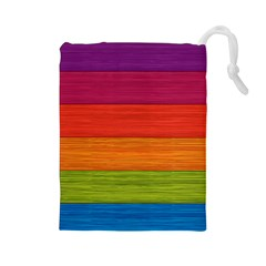 Wooden Plate Color Purple Red Orange Green Blue Drawstring Pouches (Large)