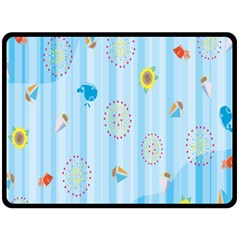 Animals Whale Sunflower Ship Flower Floral Sea Beach Blue Fish Double Sided Fleece Blanket (large)