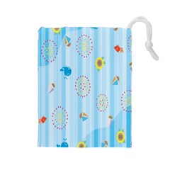 Animals Whale Sunflower Ship Flower Floral Sea Beach Blue Fish Drawstring Pouches (Large)