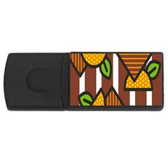 Chocolate Lime Brown Circle Line Plaid Polka Dot Orange Green White USB Flash Drive Rectangular (2 GB)