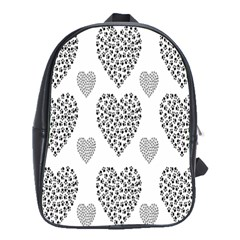 Black Paw Hearts Love Animals School Bags(Large)