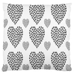 Black Paw Hearts Love Animals Standard Flano Cushion Case (two Sides)
