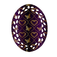 Flower Butterfly Gold Purple Heart Love Oval Filigree Ornament (two Sides)