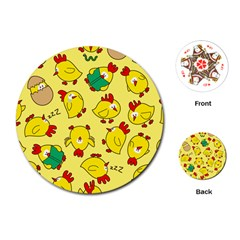 Animals Yellow Chicken Chicks Worm Green Playing Cards (Round)