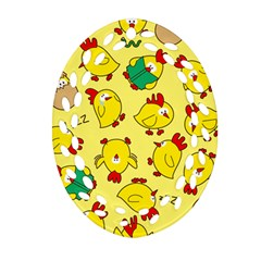 Animals Yellow Chicken Chicks Worm Green Oval Filigree Ornament (two Sides)